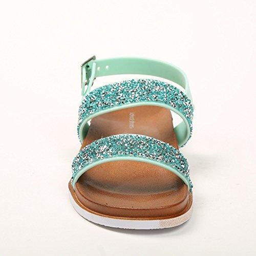 Ideal Shoes–Flache Sandale mit Flansch aus Gummi mit Strass-Giovana Grün - grün