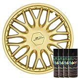 KandyDip® Sprühfolie True Aluminium Gold Flüssiggummi Felgenfolie Spraydosen Sets+2K, (3X Basis +3X Effekt, Satin)