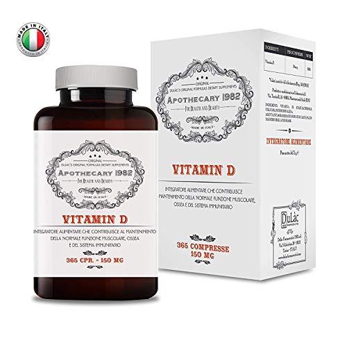 Apothecary 1982 - Vitamina D - 365 compresse - Per l'assorbimento del calcio - 100% Made in Italy - Notificato al Ministero della Salute Italiano