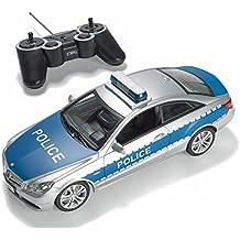 Prextex - Coche de Policía Teledirigido con Luces y Sonidos Reales de Sirena de Policía por Control Remoto RC, Coche de Policía de Juguete para Niños