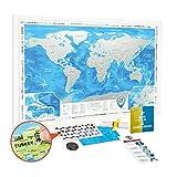 Mappa del Mondo da Grattare con Cornice Bianco - Cartina Mondo da Grattare Grande Dettagliata 88 x 62 cm - Scratch off World Travel Map Poster Mappa Viaggi con Adesivi - Regalo per Viaggiatori