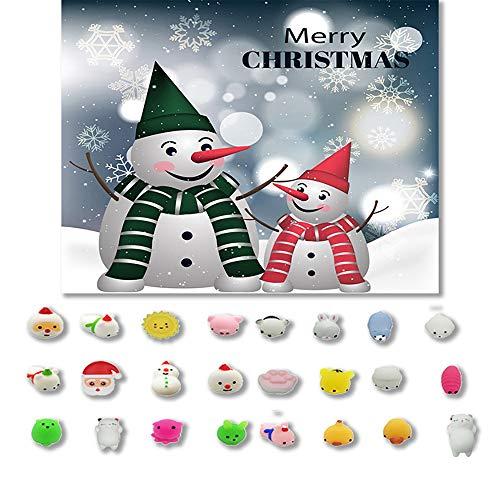 SamMoSon 24PCS * Giocattolo per Bambini di Natale Set - B - 24PC Giocattoli di Natale Mini Cute Spremere Giocattolo Divertente Morbido Giocattolo Antistress DIY Deco