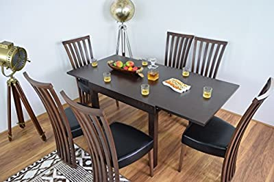 Extending Dining Table And 6 Chairs Set Solid Wood Kitchen Extendable Furniture Dining Room Sets Wooden Dinner Tables And Chair - cheap UK light shop.