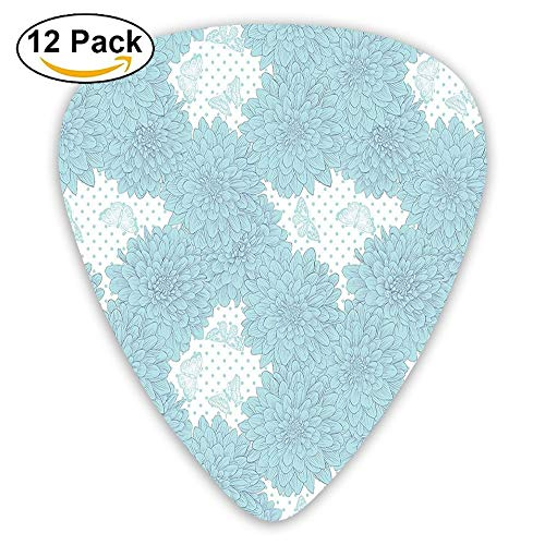 Soft Orchid Dahlias With Butterfly Figure On Polka Dot Background Guitar Picks 12/Pack Set Medium Soft Case