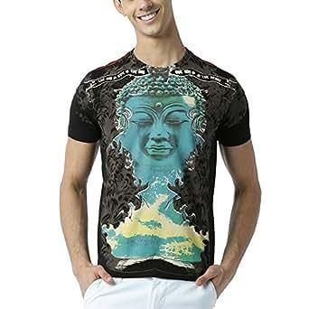 Huetrap Men's Blue Buddha printed Black T Shirt