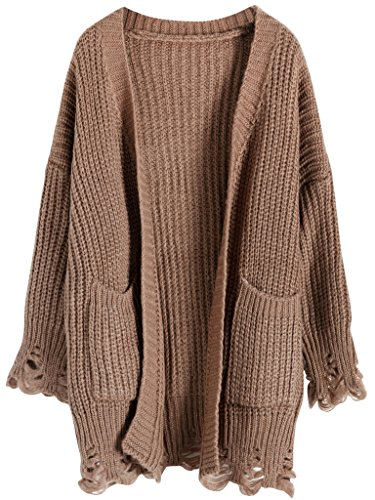 Vogueearth Fashion Damen's 3/4 Hülse Pattern Knit Sweater Sweatshirt Open Cardigan Strickjacke Bräunen (Pullover Strickjacke Braune)