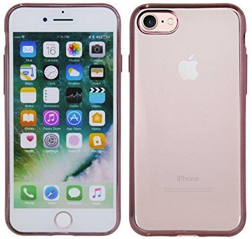 TPU SchutzHülle für Iphone 8 Silikon Hülle Etui Case Cover Silikontasche in Transparent mit Gold-Umrandung Silikonschale Tasche Bumper Zubehör @ Energmix Rose