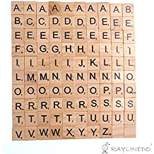 Raylinedo 200x Letras de madera para Scrabble Scrabbles número Crafts Inglés palabras fijo