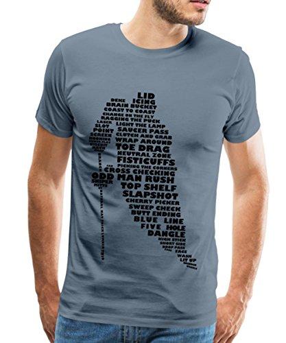 Spreadshirt Eishockey Terminologie Ice Hockey Begriffe Männer Premium T-Shirt, XL, Blaugrau