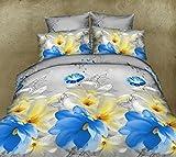 Blu 3D set di biancheria da letto con fiori matrimoniale King Size copripiumino + 2federe 3pcs set in microfibra Feel, Blue/Yellow, King
