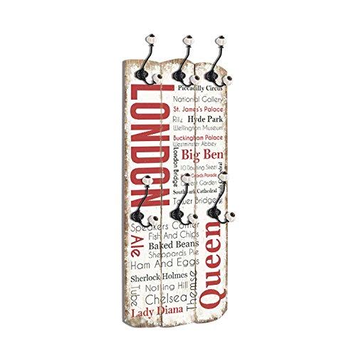 Wandgarderobe im Vintagestil aus Massivholz mit 6 Wandhaken Flurgarderobe im Shabby Chic Stil (London)