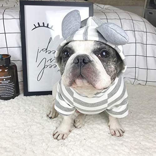 r Pet Dog Clothes for Dog Cute Ear Decoration Striped French Bulldog Costume Hoodies for Cat Small Medium Dogs S-L ()