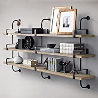ZEZE-Iron Art Nouveau solid wood wall mount rack shelf bulkhead shelf walls show admission, two levels: Long 80 cm