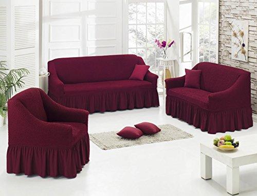 My Palace Stretch Sofabezüge 1er+2er+3er in Weinrot Rot (Stretchhusse, Sofa-Husse, Sofabezug)/Sofabezug Ikea/sofabezuege 3 2 1/sofabezug groß/Garnituren Cover