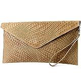 modamoda de - ital. Ledertasche Clutch Unterarmtasche Abendtasche Damentasche Handgelenktasche Flechtmuster T106F, Präzise Farbe:Hellcamel