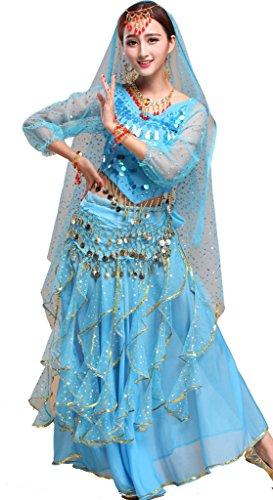 Indischer Tanz Top Paillette Bauchtanz Kostüm Set Himmelblau (Halloween Bauchtanz Musik)