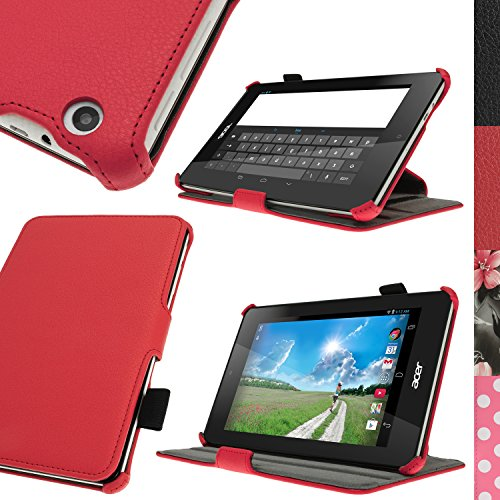 igadgitz Rot PU Ledertasche Hülle Cover für Acer Iconia One 7 B1-730HD mit Stylus-Stift Elastischen Halter + Multi-Winkel Betrachtungs + Handschlaufe + Displayschutzfolie