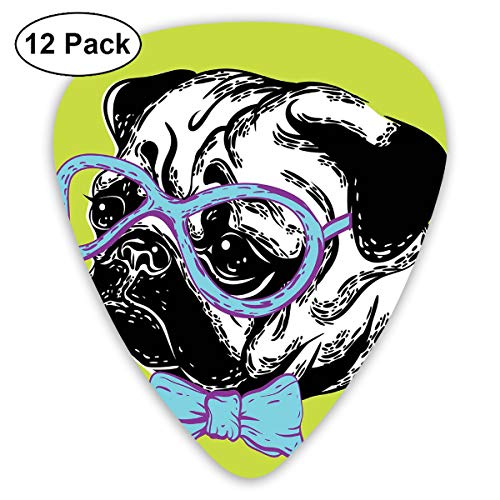 Guitar Picks12pcs Plectrum (0.46mm-0.96mm), Cute Dog With A Bow Tie And Nerdy Glasses On Green Shade Backdrop,For Your Guitar or Ukulele -
