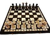 Amazinggirl 42x42cm Handgefertigtes Hochwertiges Schachspiel aus Holz edel Schachbrett Schachfiguren Schachkassette mit Figuren