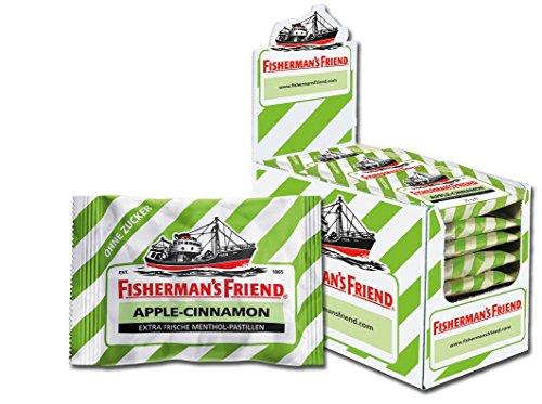 Fisherman's Friend Apple-Cinnamon, Karton mit 24 Beuteln, exklusive Sonderedition, Apfel-Zimt und Menthol Geschmack (Bonbons Zuckerfrei)