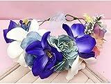 ZGP &Kopfschmuck Krone Blumen-Kranz, Stirnband-Blumen-Girlande-Handgemachtes Hochzeits-Braut-Partei-Band-Stirnband Wristband Hairband Weiß (Farbe : F)