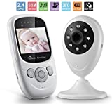"""Exotic Life Video Baby Monitor 2.4"""" TFT LCD Baby Monitor Camera with Night vision Two-Way Talking Temparature Monitoring with Built-in Lullabies White"""