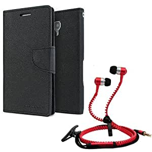 Aart Fancy Diary Card Wallet Flip Case Back Cover For Motorola Moto E2-(Black) + Zipper Earphones/Hands free With Mic *Stylish Design* for all Mobiles By Aart store