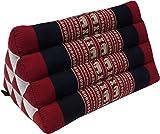 Guru-Shop Dreieck Thaikissen, Dreieckskissen, Kapok - Elefant Rot/schwarz, 30x30x50 cm, Asiatisches Sitzkissen, Liegematte, Thaimatte