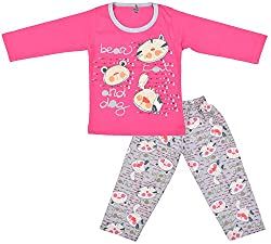 Kuchipoo Baby-Girls Top and Pyjama Set (KUC-NST-113_2-3 Years, Pink, 2-3 Years)