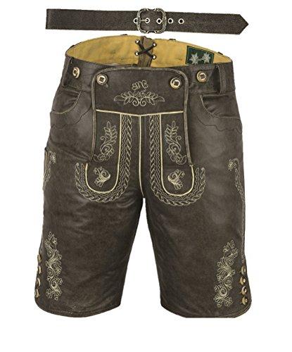 Fuente Kurze Lederhose mit Gürtel, echt Leder Nappa antik Trachten Lederhose Herren kurz, Damen Trachtenlederhose...