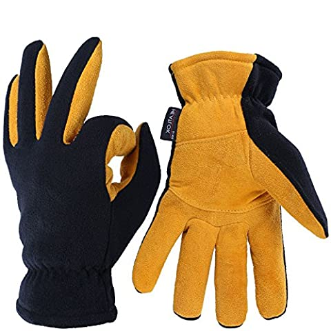 Thermal Gloves, OZERO -20ºF Cold Proof Winter Glove - Genuine Deerskin Suede Leather Palm and Polar Fleece Back with Heatlok Insulated Cotton Layer - Keep Warm in Cold Weather - Tan (Medium)