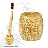 Porte-brosse à dents en bambou de BLISSANY - en bois de bambou durable, végétalien, respectueux de l'environnement, Porte-brosse à dents, Aussi idéal comme porte-brosse et porte-stylo