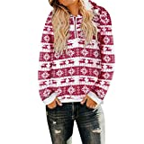 Innerternet Women Blouse Christmas Hooded Sweatshirt Winter Warm Wool Zipper Pockets Outwear