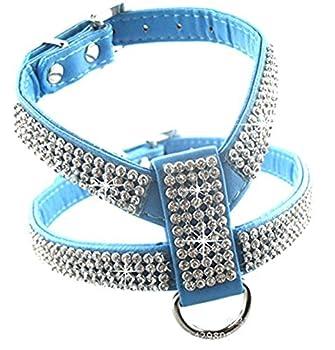 Chiguo Chiens Harnais Réglable Collier En Cuir PU Strass Pour Petits ou Moyens Grand Chien ou Chats Animaux (Bleu M)