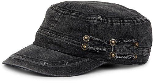 Imagen de stylebreaker  militar en apariencia gastada, vintage, ajustable, unisex 04023011, color negro alternativa