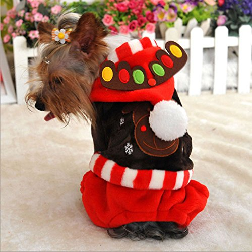ELECTROPRIME Pet Cat Puppy Elk Moose Christmas Hoodie Clothes Warm Kleidung Coat Brown S