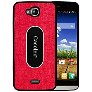 Casotec Metal Back TPU Back Case Cover for Micromax Canvas L A108 - Red