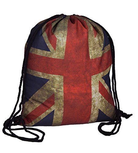 IWEA Rucksack City Bag und Turnbeutel in USA Stars and Stripes & UK Union Jack Vintage Design IW027, UK
