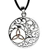 DarkDragon Anhänger Ornamente mit Keltischem Knoten Rotgold 925er Silber Schmuck rhodiniert Schutzamulett mit Lederhalsband Schmucksäckchen und Karte Celtic 2406
