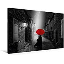 Premium Textil-Leinwand 90 cm x 60 cm quer, Die Frau mit dem roten Regenschirm | Wandbild, Bild auf Keilrahmen, Fertigbild auf echter Leinwand, Leinwanddruck (CALVENDO Menschen)