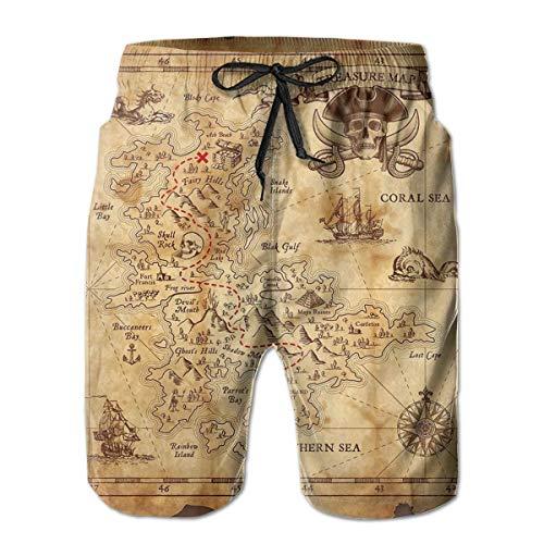 Azfaiop Super Detailed Treasure Map Men Beach Pants Swim Trunks Dry Fit Board Shorts with Mesh Lining XXL Treasure Beach Pants
