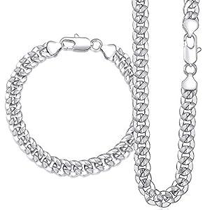 Davieslee 9mm Damen Herren Halskette Armband Set, Cuban Panzerkette Rose Gold Weiß Vergoldet Armband 20,3–25,4cm Halskette 50,8–76,2cm