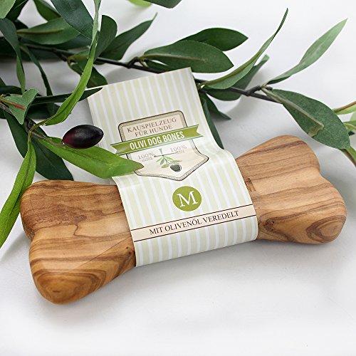 Natürliches Kauspielzeug aus Olivenholz mit Olivenöl - Olivi Dog Bone (M)