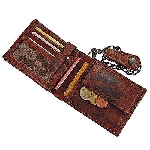 Branco Geldbörse Leder Geldbeutel mit Kette Querformat Kettenbörse im Vintage Look Bikerbörse GoBago (Vintage-Tan) Vintage-Brown