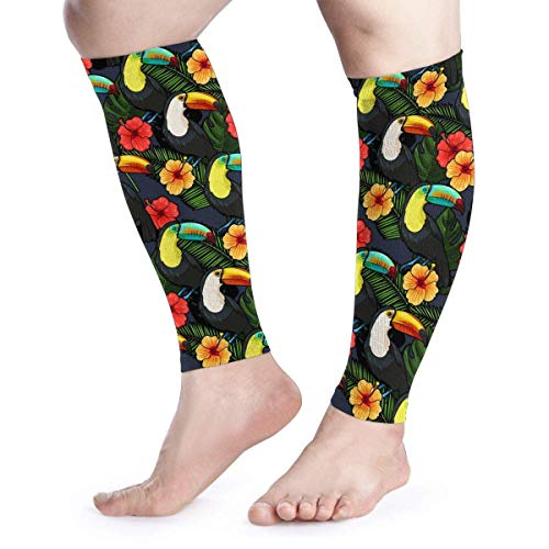 Bgejkos Toucan and Hibiscus Unisex Calf Compression Sleeve - Leg Compression Socks for Running, Shin Splint, Calf Pain Relief -