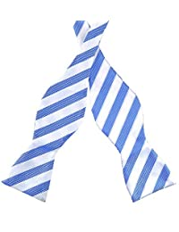 PenSee Mens Self Bow Tie Blue & White Stripe Jacquard Woven Silk Bow Ties