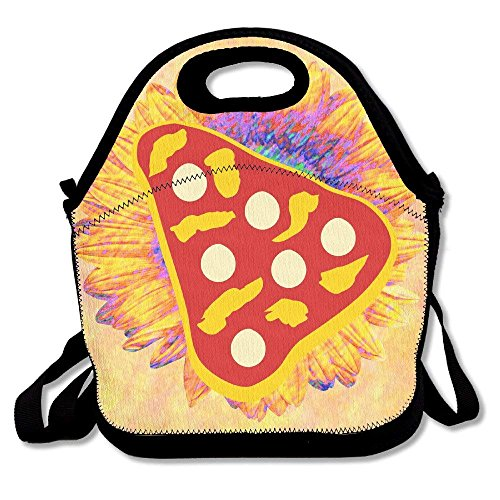 Icndpshorts Pizza Pie Slice Lunch Bag Tote Handbag Lunchbox Food Container Tote Cooler Warm Pouch for School Work Office