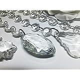 5 stück x 1m 15mm Hängender Kristall Schnur + 5 x Kristall tropfenförmige anhänger hochzeit girlande - Durchsichtig, Marquise - 50x25mm