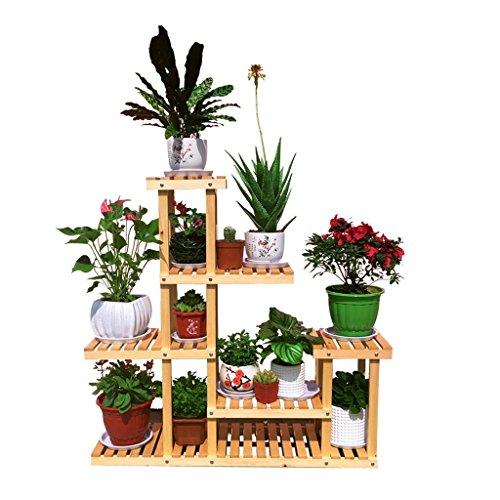 Qff stand per piante in legno massello/porta fiori, stili multipli multistrato di pino, soggiorno in giardino con balcone, olio di legno trasparente a pavimento (size : f)