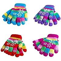 Homeng Children Thickened Snow Gloves Cartoon Knit Mitten Winter Warm Gloves Children Bi-Layer Thickened Snow Print Colored Yarn Knit Gloves